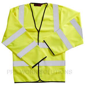 2-x-Blackrock-Yellow-Long-Sleeved-Hi-Vis-Vest-High-Viz-Visibility-80100