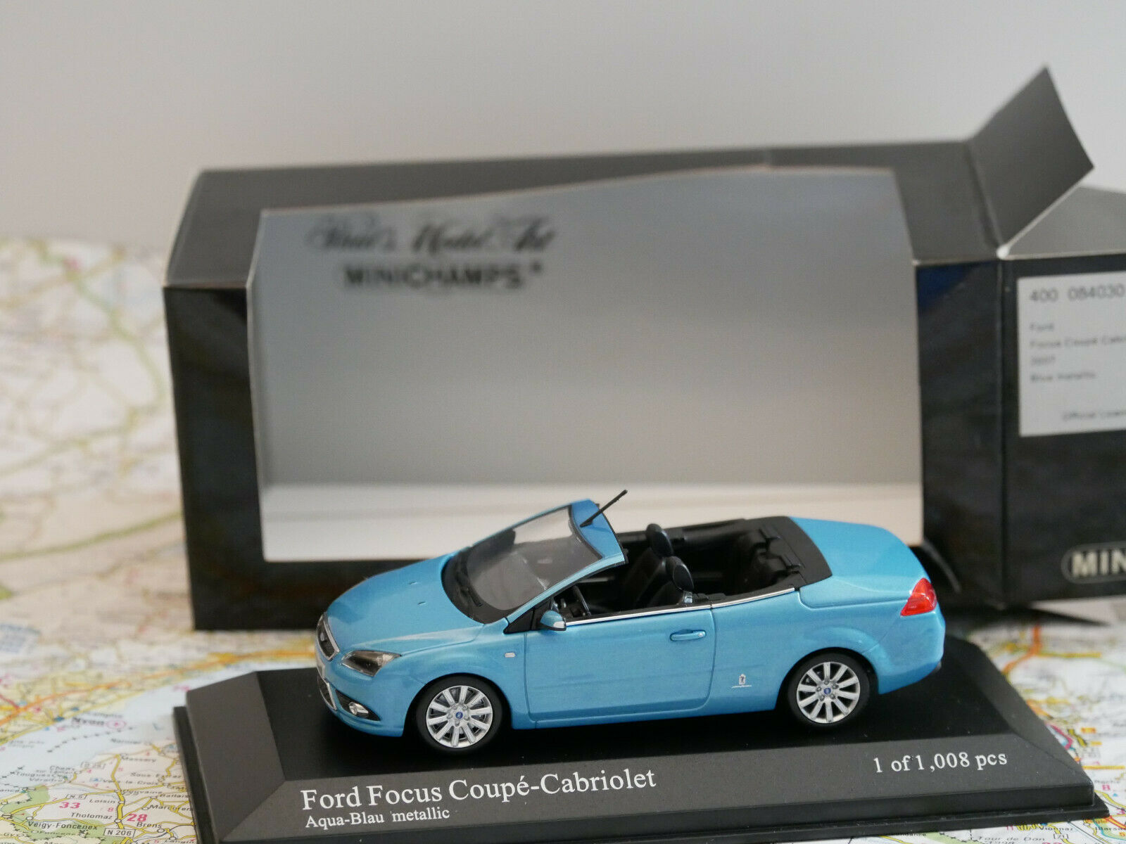 MINICHAMPS FORD FOCUS COUPE CABRIOLET 2007 ART.400084030 blueE DIE-CAST 1 43 NEW