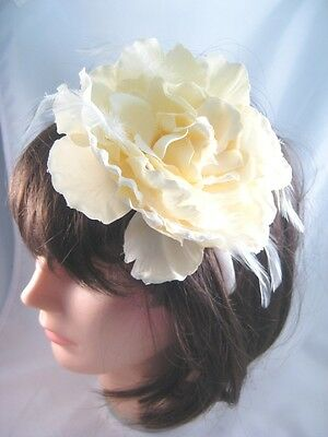 """New Large White 5"""" Flower Headband Feather Fascinator NWT From Target #H2025"""