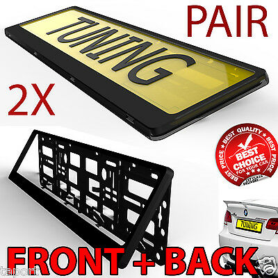 2 x New Black Effect License Number Plate Holder Surround Frame for any Car Van