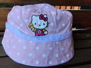 2a98e305a1ad2 Girls Kids Children Hello Kitty Cute Cotton Soft Dots Bucket Cap Sun ...