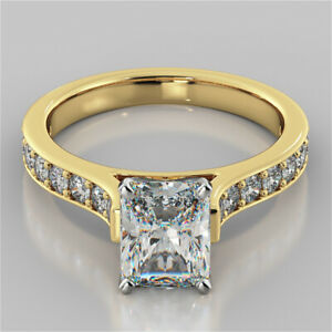 2.32 Ct Radiant Cut Real Moissanite Engagement Ring 14K Solid Yellow Gold Size 5