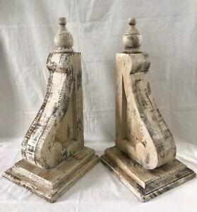 2-XL-WOOD-CORBELS-Vintage-Gable-Brackets-Corner-Brace-Roof-Support-20-034-TALL