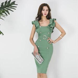 7cf88ca484f0 Caricamento dell immagine in corso Elegante-vestito-abito-corto-tubino-verde -chiaro-evento-