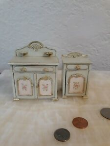 Hand Painted Dresser/Cabinet and Night Stand/ side table Doll House 1:12 bespaq!