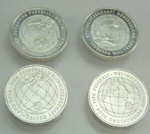 4-x-10-Euro-Silbermuenze-FIFA-Fussball-Weltmeisterschaft-Deutschland-2006