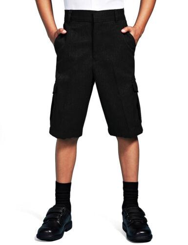 Boys School Cargo Shorts Grey Black Ages 2 3 4 5 6 7 8 9 10 11 12 13 14 15 16