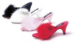f9bec07185a Image is loading Sexy-Marabou-Slippers-Kitten-Heel-Mule-Sandal-High-