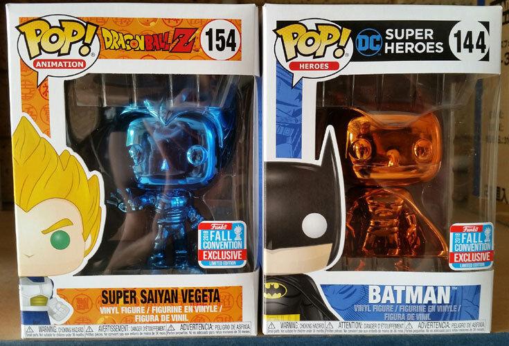 Funko Super Saiyan Vegeta Blau Chrome, Batman Orange Chrome Pop  NYCC Exclusives