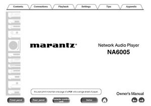 marantz na6005 network audio player owners instruction manual ebay rh ebay com marantz na7004 user manual Cambridge Audio NP30