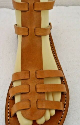 TAN 100/% MOROCCAN LEATHER  GLADIATOR SANDALS 5 sizes available