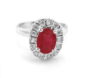 925-Sterling-Silver-Ring-Red-Ruby-Halo-Natural-Gemstone-Size-4-11