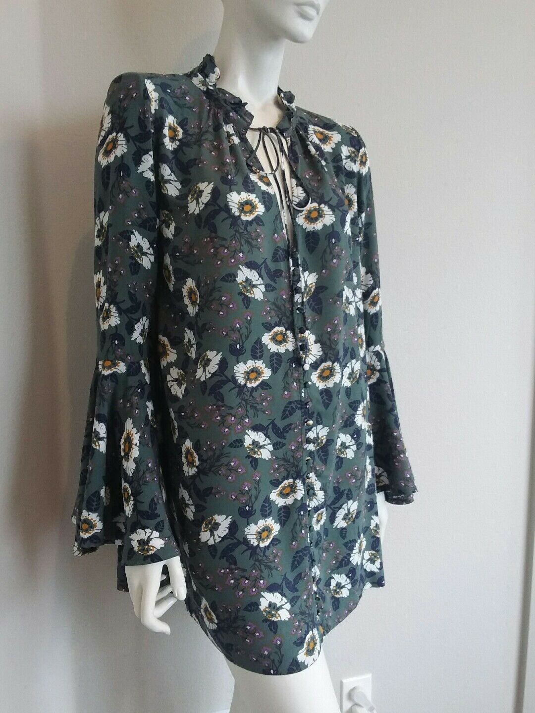 Free people button down mini dress tunic top bell sleeve sz S NWT