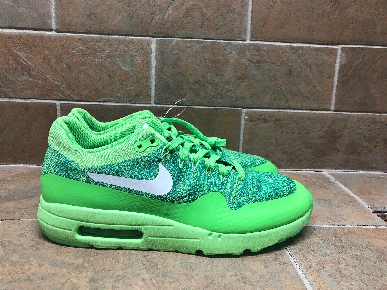 Nike Air Max 1 Ultra Flyknit Shoes Voltage Green White 843384 301 Mens Size 10