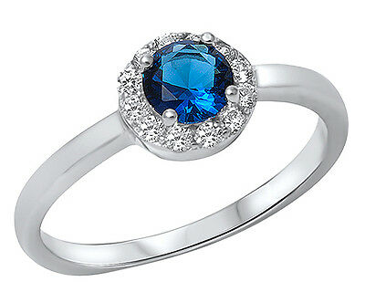 .925 Sterling Silver Round Blue Sapphire Halo CZ Accent Ring RC910