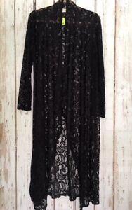 XL//1X//2X//3X New Black Lace Long Jacket Cardigan Duster Kimono Sweater Tee Knit
