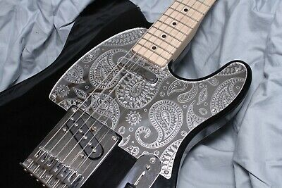 Telecaster Pickguard Mirrored Red Scratchplate With Paisley Pattern