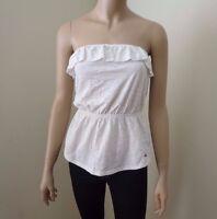Hollister Women Strapless Top Shirt Size Medium Ruffles Beige Blouse