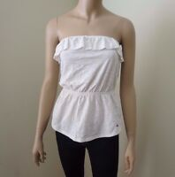 Hollister Women Strapless Top Shirt Size Medium Ruffles Beige Blouse