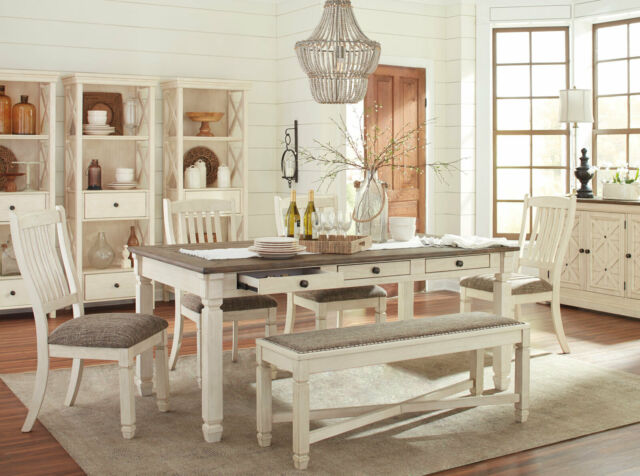 Farmhouse White Brown Table Chairs, White Dining Room Furniture