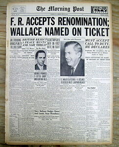 1940 newspaper DEMOCRATS NOMINATE FRANKLIN D ROOSEVELT for 3rd TERM as PRESIDENT