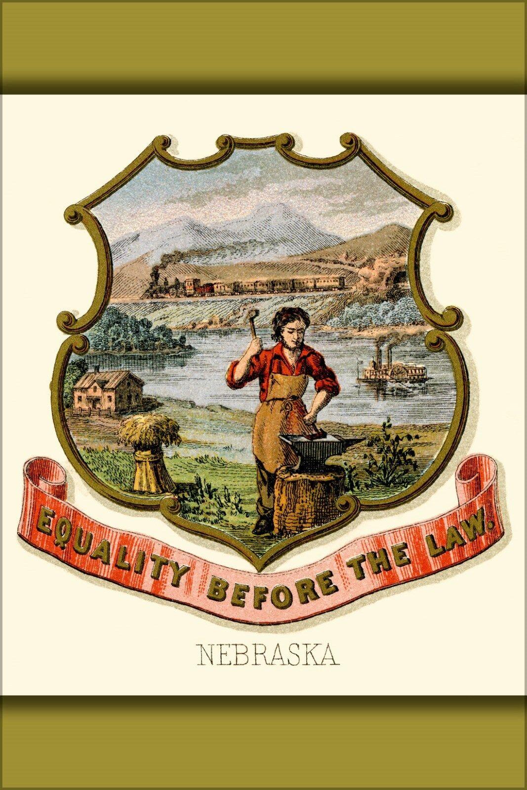 Poster, Many Größes; Nebraska State Coat Of Arms (Illustrated, 1876)
