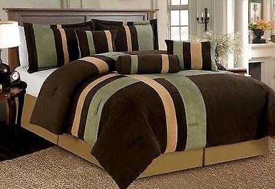 7 PCS Patchwork Micro Suede Sage & Brown Comforter Bedding Set Full Queen King