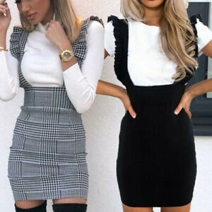 Womens-Bodycon-Check-Dog-Tooth-Frill-Pinafore-Ruffle-Dress-Bodycon-Mini