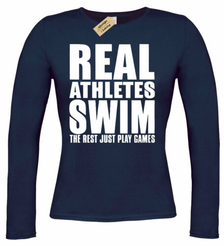 Womens Real Athletes SWIM T-Shirt funny swimming gift swimmers long sleeve