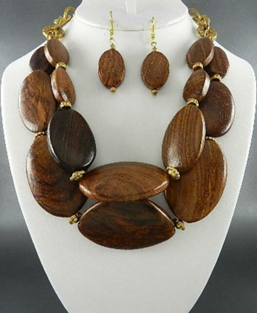 Two Layers Brown Wood wooden Bead Gold Tone Chunky Necklace Earring