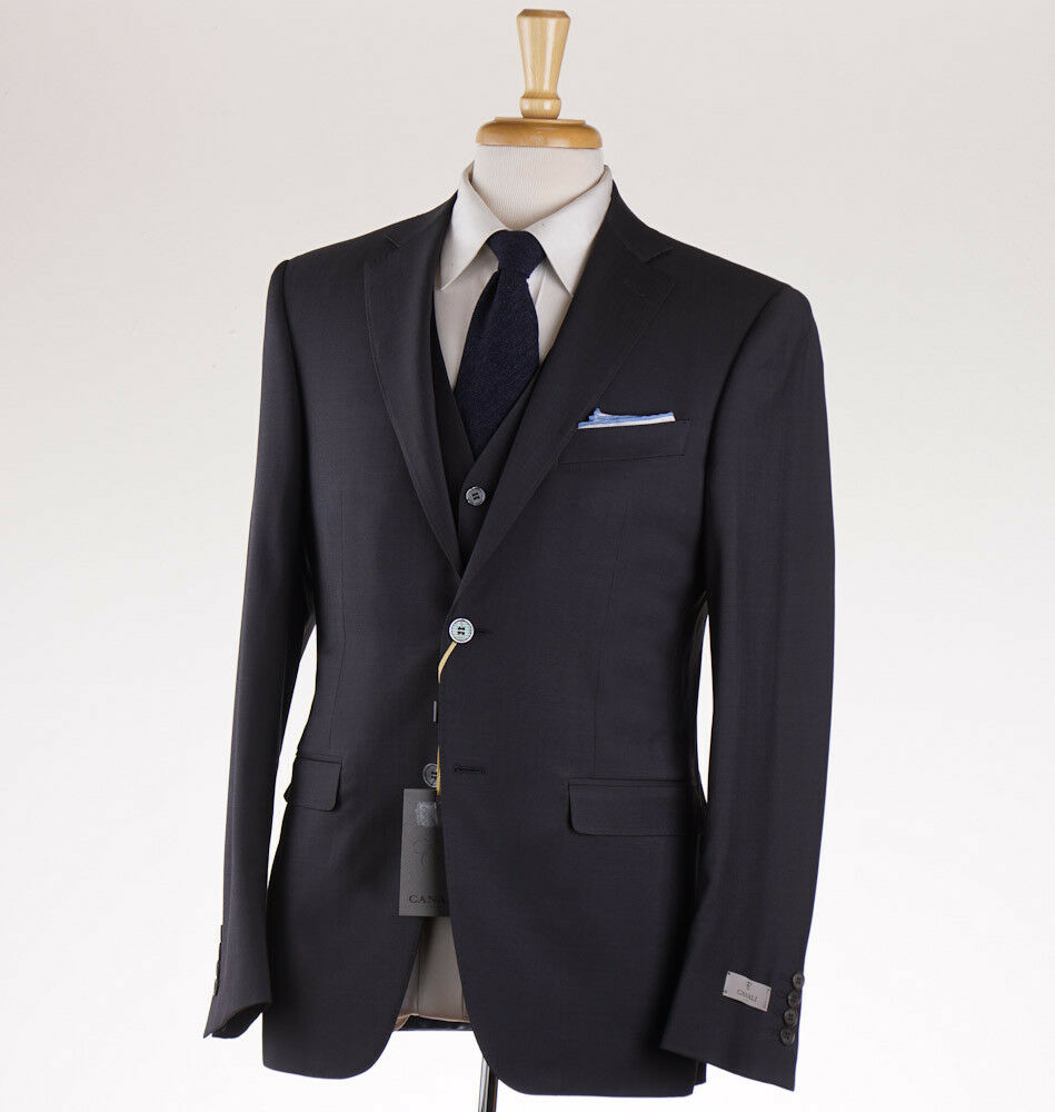 NWT 2395 CANALI 1934 Slim-Fit Solid grau Three-Piece Wool Suit 42 R (Eu 52)