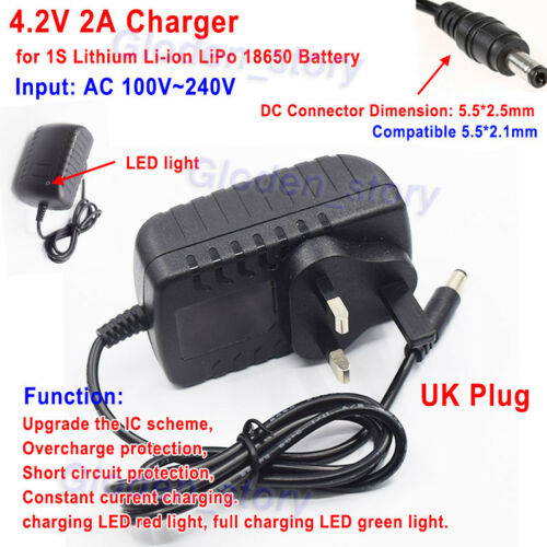AC//DC UK plug 4.2V 2A charger adapter for Lithium Ion Battery Li-ion LiPo 1S