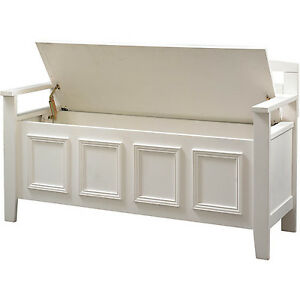 entryway storage bench lift up top seat wood hallway mudroom furniture white new ebay. Black Bedroom Furniture Sets. Home Design Ideas