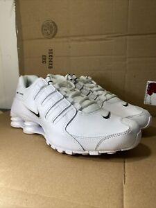 Nike-Shox-NZ-EU-Running-Shoes-White-Black-501524-106-Men-039-s-NEW-Size-8-5
