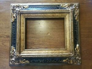 Gorgeous-Vintage-Ornate-Baroque-Black-amp-Gold-Wood-Gesso-Picture-Frame-Holds-8x10