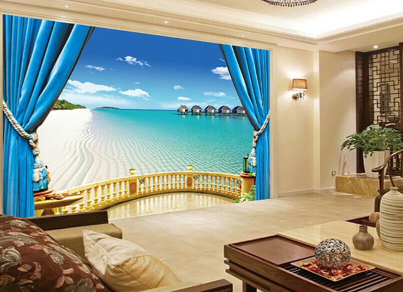 3D blue Vorhang Meer Fototapeten Wandbild Fototapete Bild Tapete Familie Kinder
