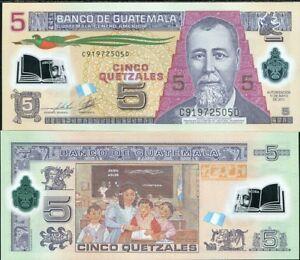 Guatemala 5 Quetzales P122b Polymer banknote UNC 2011