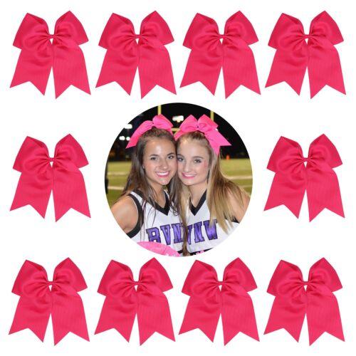 "BIG Cheer Bows Ponytail Holder Girls 7/"" Large Softball Hair Bow Cheerleading Lot"