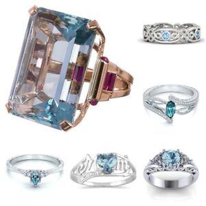 Fashion-925-Silver-Aquamarine-Gems-Ring-Jewelry-Women-Wedding-Bridal-Party-Gift
