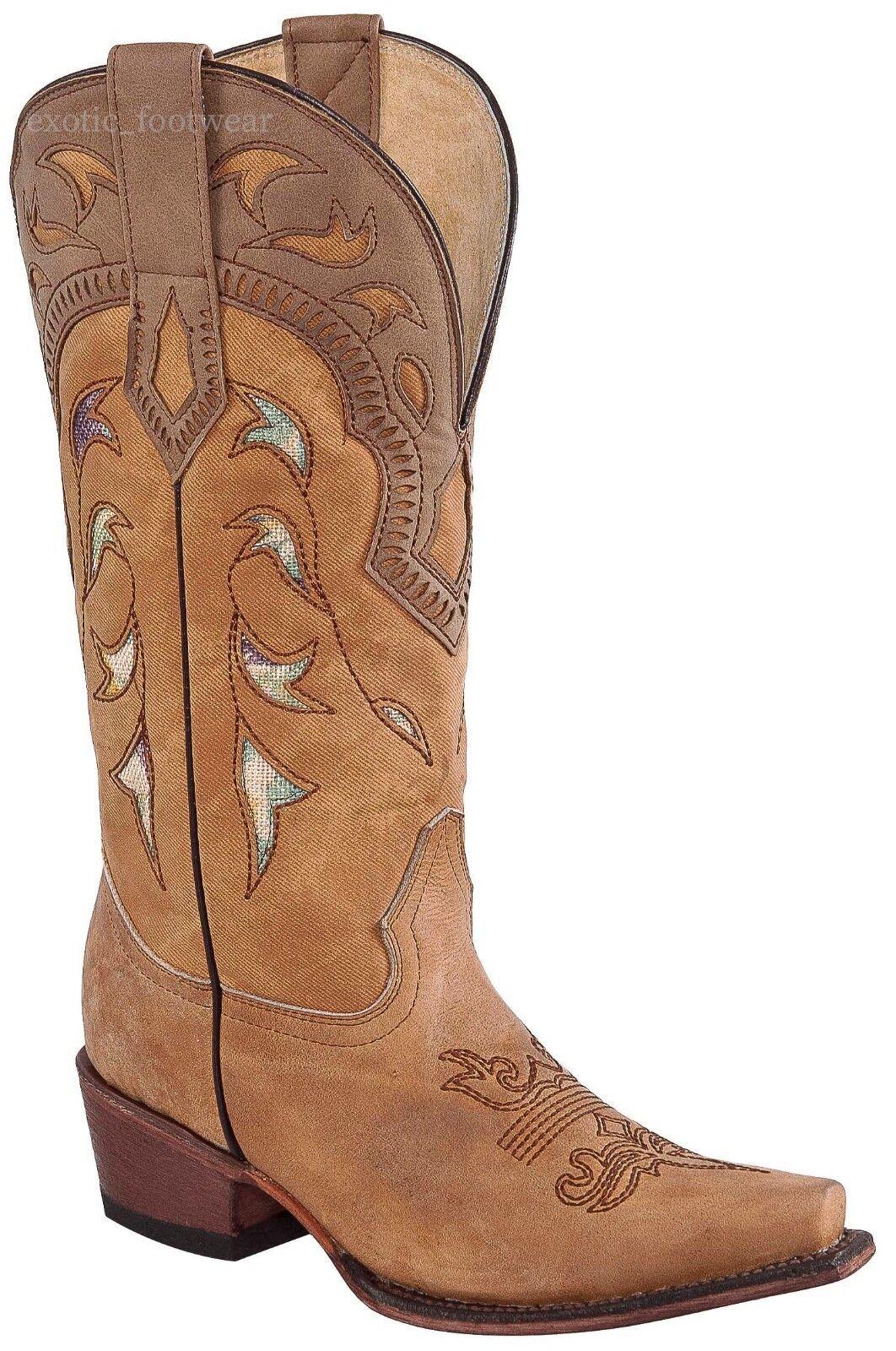 Women's Potro Rebelde Genuine Genuine Genuine Leather Western Cowgirl Boots Snip Toe Handmade db2966