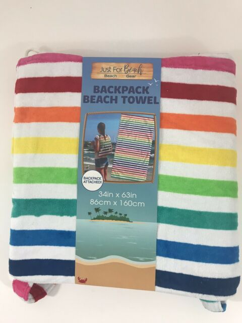 Just For Beach Backpack Towel 34 In X 63 Rainbow Stripe