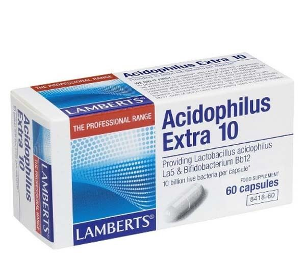 Lamberts Acidophilus Extra 10 Billion | Probiotic Food Supplement - 60 Capsules