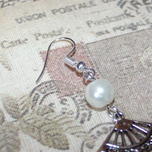 1920/'s//flapper Art Deco style silver fan and faux pearl drop earrings