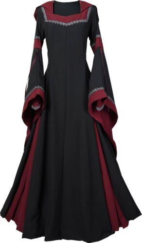 Mittelalter Renaissance Gewand Kleid Robe Griseldis Schwarz-Bordeaux XS-56
