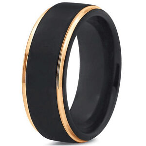Tungsten Carbide 8mm Men S Black Wedding Band Wedding Ring Sr117 Ebay