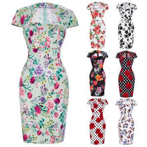 Women-Vintage-50s-60s-Pinup-Floral-Bodycon-Evening-Party-Cocktail-Pencil-Dress