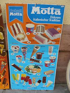Gelati-MOTTA-Eiskrem-Reklameschild-Blech-Schild-Italien-um-1960-Preistafel-RAR