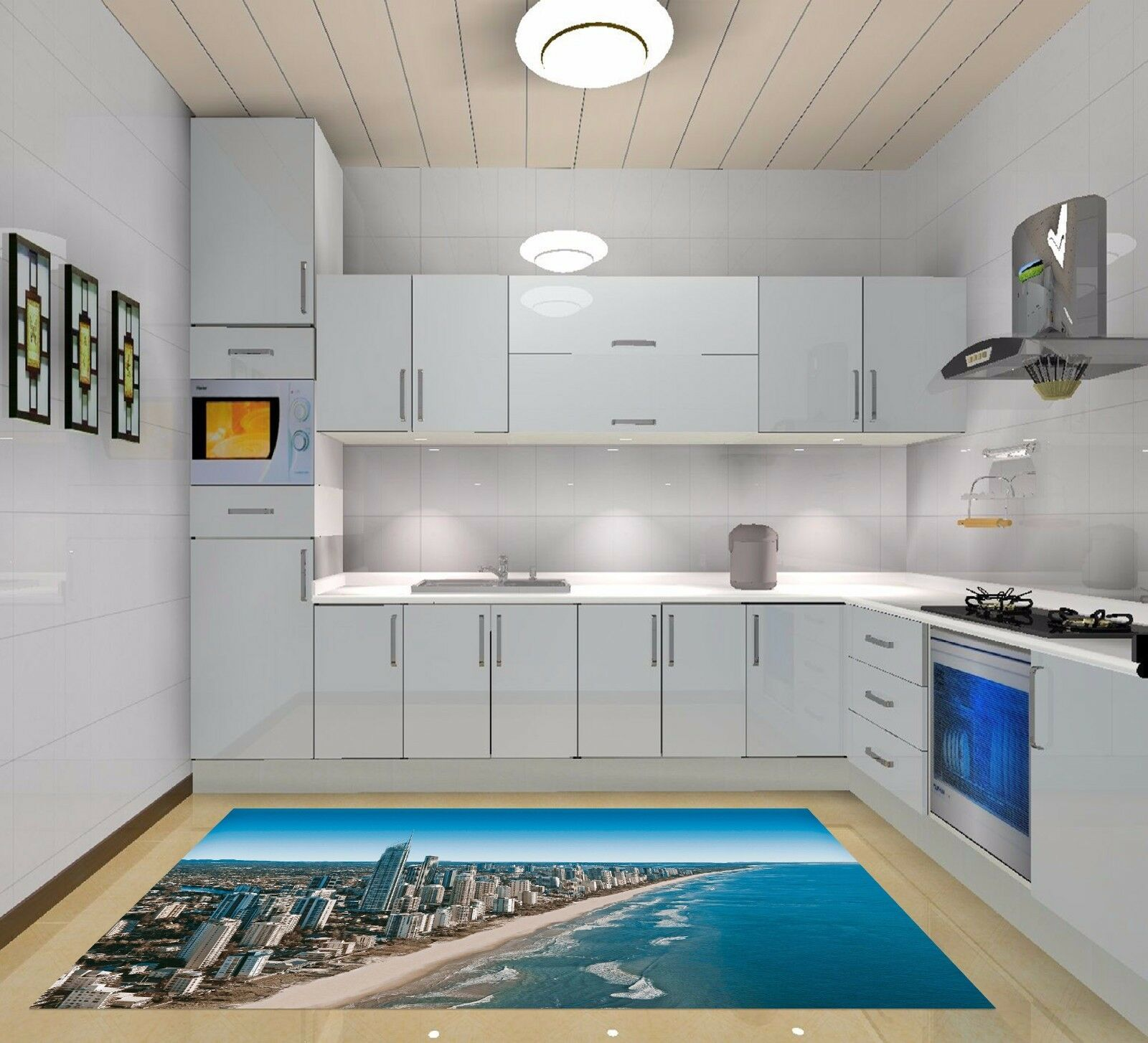 3D Seaside City 4 Kitchen Mat Floor Murals Wall Print Wall Deco AJ WALLPAPER AU