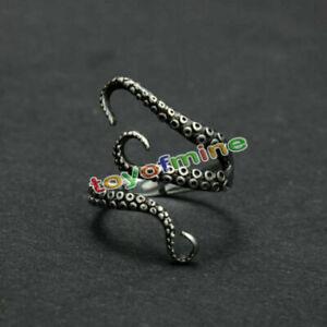 Smart-Women-Men-Retro-Titanium-Steel-Gothic-Octopus-Finger-Open-Ring-Adjustable