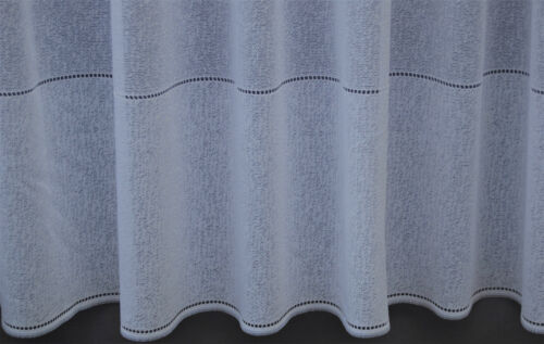 OSLO A PLAIN WHITE TEXTURED WITH A CUT OUT DESIGN  NET CURTAIN BY THE METRE
